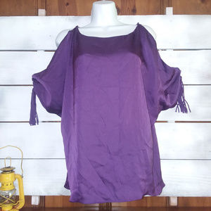 Ark & Co size S Purple Cold-Shoulder Blouse Shirt